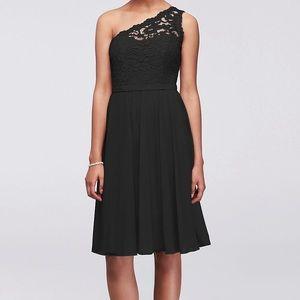 David's Bridal black short one shoulder dress